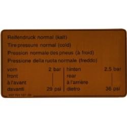 Sticker, Tyre Pressure