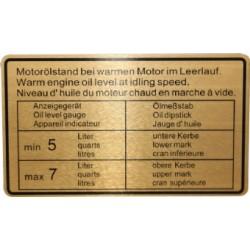 Klistermärke, Oljenivå Motor