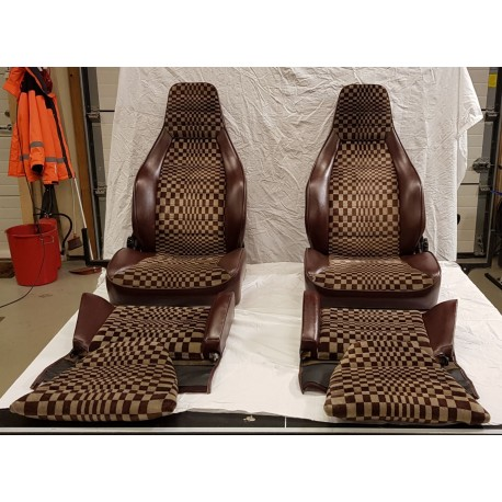 Leather + Tartan Cloth Seats with Back Seat, Burgundy